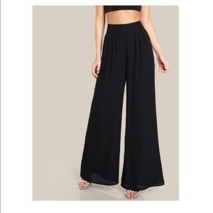 Black High Waisted Cotton Stretch Palazzo Pants